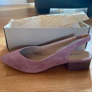 Lucky brand mauve sandals with square heel